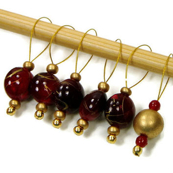 Beaded Stitch Markers, Snag Free, DIY Knitting Supplies, Burgundy, Gold, Red, Gift for Knitter, Craft Supplies, TJBdesigns