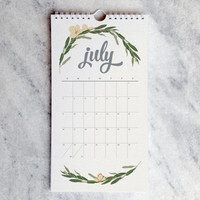 2017 Monthly Calendar, Botanical Illustration, flowers, wildfllowers, floral garland and laurels