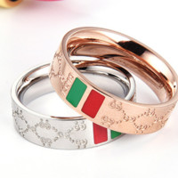 GUCCI Women And Men New Fashion Green Red Stripe More Letter Ring Accessories Gold