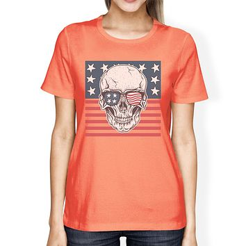 Skull American Flag Tee Womens Peach Round Neck US Army Gifts