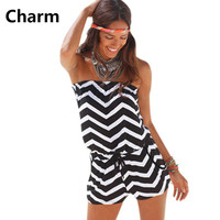 Women Fashion Short Romper 2017 Summer Sexy Strapless stripe Playsuit Shorts Rompers Womens Bodysuit Overall Jumpsuits