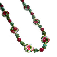 Christmas in July Sale: Pink and Green Floral Beaded Necklace, Long Necklace, 28 Inches