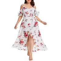 Casual Bohemian Dress Butterfly Sleeve Cold Shoulder Maxi Dress