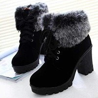 Fashion Lace Up High Heel Warm Winter Ankle Boots