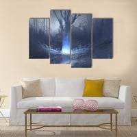 Spooky Forest With Swamp Multi Panel Canvas Wall Art