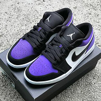 NIKE Air Jordan 1 Low AJ1 Low top basketball shoes Purple&White&Black hook