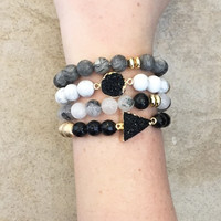 Sea Glass Druzy Bracelet Set - Smoke