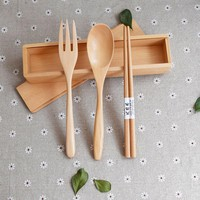 3 Pieces Dinnerware Set Natural Spoon Fork And Chopsticks Kit With Wood Box Package Easy To Take Rectangular Chopsticks Box