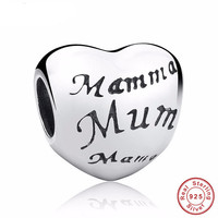 MOTHER'S HEART Bead / Charm 925 Sterling Silver Authentic fit Pandora Bracelet