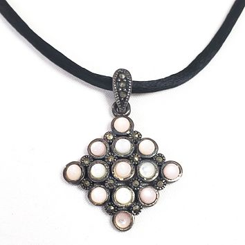 NF pink and white mother of pearl MOP marcasite sterling pendant necklace on black cord chain 925