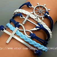 Infinity Bracelet Anchor Bracelet Cross Steering Wheel Charm Bracelet Antique sliver Korean Wax Cords Star Bracelet Best Gift