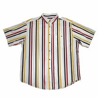 Vintage 90s Red / Yellow / Blue Striped Button Down Shirt Mens Size Large