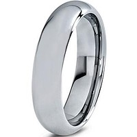 6mm Polished Silver Dome Cut Tungsten