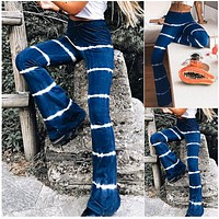 2020 new arrival women's tie-dye striped flared pants high waist stretch casual trousers