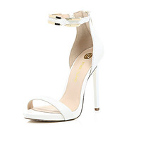 River Island Womens White leather barely there gold strap sandals