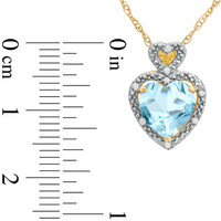 8.0mm Heart-Shaped Lab-Created Aquamarine and Diamond Accent Heart Frame Pendant in 10K Gold