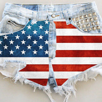 ANY COLOR Ripped Frayed American Flag Studded Denim High-Waisted Shorts (UV10)