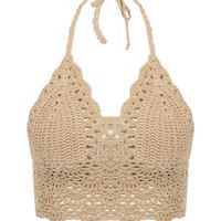 Beige Bralet Top With Crochet Trim