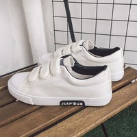White Round Toe Flat Velcro Casual Canvas Shoes