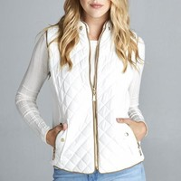 Quilted Fall Vest - White
