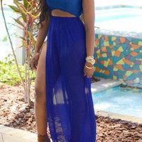 Blue Sleeveless Cut-Out Side Slit Maxi Dress