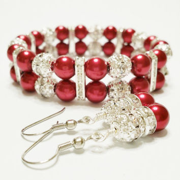 Bracelet and Earring Set Red Wedding Red Bridesmaid Jewelry Bridal Jewelry Bridal Shower Favors Mother of Bride Gift Red and Silver Wedding