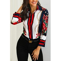 Anastagio Floral Print Long Sleeves Button Down Shirt