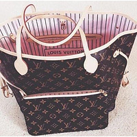 LV Louis Vuitton Hot Sale Women Leather Handbag Tote Shoulder Bag Purse Wallet Two Piece Set