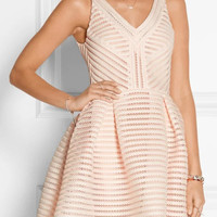Striped V-neck Sleeveless Mesh Mini Skater Dress with Eyelet