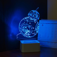USB Novelty 3D Visual Night Lights for Children Star Wars Robot BB-8 Touch Dimming Desk Table Led Lamp as Creative Gift Lampara