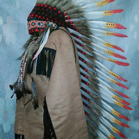 CHRISTMAS SALE Extra Large Indian Headdress, Native American Warbonnet, Native American clothing, Edc Edm, Warriors hat