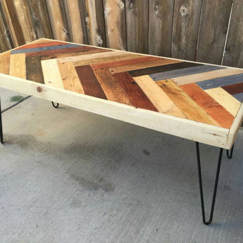 Colorful chevron. Coffee table: reclaimed wood , mid century Modern, vintage
