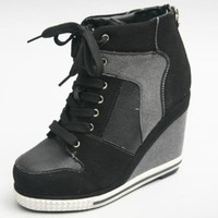 Womens Hightop Lace Up Hidden Heel Sneakers Women High Top Wedge Shoes No.707