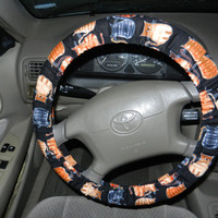Cats on Black Steering Wheel Cover