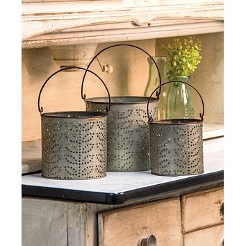Set of 3 Punched Tin Buckets