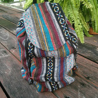 Aztec Tapestry Ethnic Tribal Backpack Ikat Boho Hippie Design Woven Rucksack Gypsy Nepali Handwoven Patterns Bags For Beach School 14x12inch