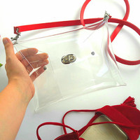 Clear bag with genuine leather strap, small crossbody clutch bag with removable strap, nfl approved clear bag, premium clear transparent