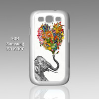 ELEPHANT ART Flowers - Design on Hard Case for Samsung Galaxy S3 White Case Cover - Please Leave note for the case color: White Case or Clear Case