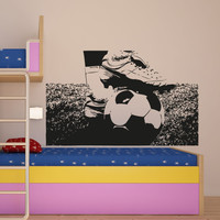 Vinyl Wall Decal Sticker Soccer Ball and Cleats #5075