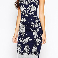 Navy Blue Paisley Print Spaghetti Strap Midi Bodycon Dress