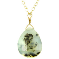 Moss Agate 14K Necklace Faceted Stone Drop Agate Teardrop Pendant Necklace Agate Necklace Layer Necklace Simple Gemstone Necklace