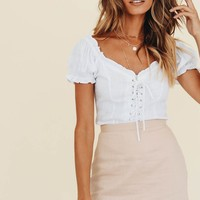 VG Unforgettable Women Lace Up Linen Top // White