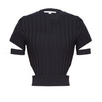 Crop Cut Out Knit Tee - Black