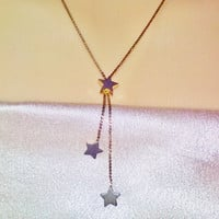 Gold Chain Multi Stars Pendant Necklace Vintage Dangling Stars Minimalist Costume Jewelry Rocker Gypsy Hippie Hip Hop Astrological Birthday