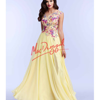 Floral Lace Flowing Yellow Gown