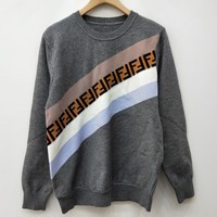 Fendi F Striped Color Letter Round Neck Collar Knitted Sweater-1