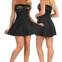 Sexy Mini Dress Rhinestone Adorned Lace Top Clubwear