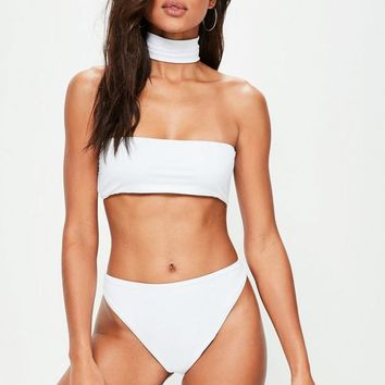 Missguided - White Choker Bikini Set