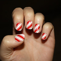 Candy  Cane Vinyl Nail Decals