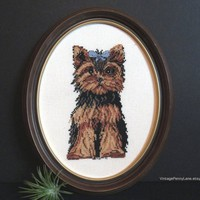 Vintage Framed Yorkie Dog Needlework, Needlepoint, Cross Stitch, Handmade Home Decor
